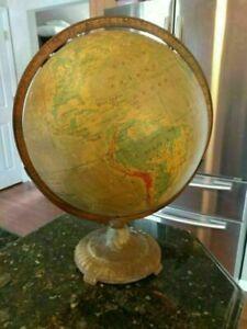 "Vintage Ranally Rand McNally Globe 12"" Diameter 17"" Tall Metal"