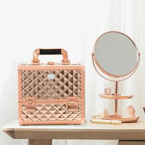 Luxury Rose Gold Cosmetic Make up Vanity Beauty Case Storage Carry Box Travel
