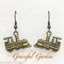ER2826 Graceful Garden Vintage Style Steam Locomotive Train Dangle Earrings