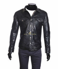 Popper Leather Collared Coats & Jackets for Men