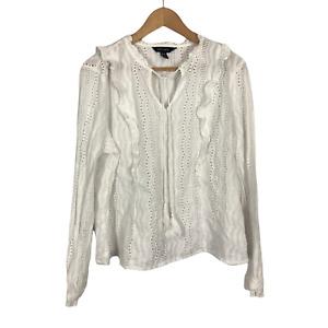 New Look Women's Size 18 EUR 46 White Ruffle Eyelet Keyhole Long Sleeve Blouse