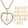 Women Crystal Love Alphabet Letter Charm Chain Heart Pendant Necklace Jewelry