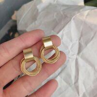 Simple Gold Multi-layer Circle Winding Geometric Stud Earrings Women Jewellery