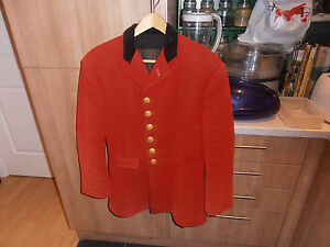 """Vtg Pendle Forest Harriers Red Melton Cloth Hunting Field Coat size 40"""""""