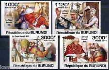 BURUNDI 2011 MNH Imperf, 4v, Pope Benoit XVI, Religion (I164)
