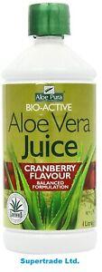 Aloe Pura Aloe Vera Juice BioActive Maximum Max Strength Cranberry - 1 Litre