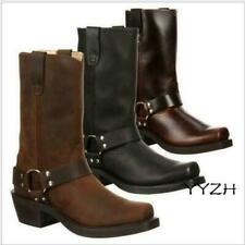 Men's Chunky Square Toe Carved Floral Low Heel Ankle Cowboy Chelsea Boots Shoes