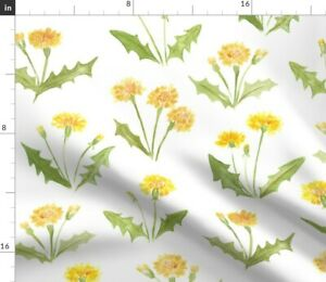 Dandelion Wildflower Yellow Watercolor Floral Spoonflower Fabric by the Yard