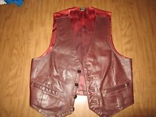 Vintage Brown Leather Vest Champlain Leather Vest Vermont Made USA  med SZ 40