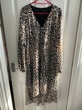 Lipsy Leopard Print Dipped Hem Shirt Dress - Size 12