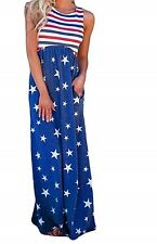 PATRIOTIC Womens Dresses Women Casual Stars Striped Printed Sleeveless SZ SMALL