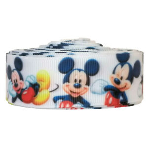 "Disney Mickey Mouse Cartoon Grosgrain Ribbon 7/8"" / 22mm x 1 Meter"