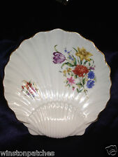 """ROYAL WORCESTER 8.75"""" SEA SHELL SHAPED DISH 2 OFFSET FLORAL SPRAYS FLOWERS GOLD"""