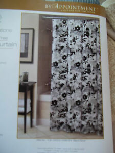 "BY APPOINTMENT AFTER SIX BLACK SILVER WHITE VINYL SHOWER CURTAIN 70"" X 72"" NWT"