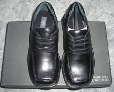 Kenneth Cole Reaction Boys Heavy Duty Black Leather Lace Up Dress Shoes 13 M