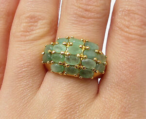 Gold Over 925 Silver - Oval Cut Emerald Dome Band Ring Sz 7.5 - RG3457