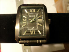 Fossil Franklin Stainless Steel Smoke Black Dial Mens Rectangular  Watch FS-4664