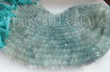 "8"" AAA shaded AQUAMARINE faceted gem stone rondelle beads 7.5mm - 8mm blue aqua"