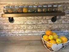 Reclaimed  Chunky Wood Shelf,With Industrial Iron  Pipe Wall Brackets, Rustic,
