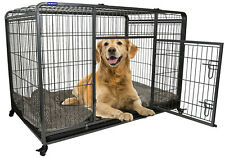 Large Premium Heavy Duty Dog Crate Cage with Nylon Wheels - Size Large