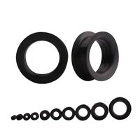 Pair Black Silicone Ear Tunnels Plugs Flexible Flared Large Ear Gauges Piercings
