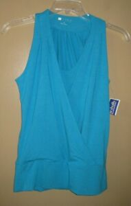 CAROLE LITTLE Womens Blue Rayon Stretch knit Crossover Sleeveless Tank Top S NWT