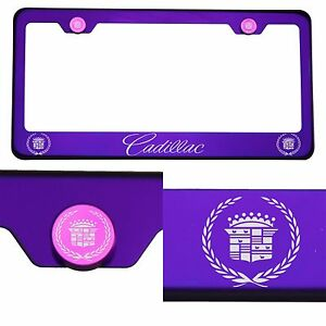 304 Candy Purple License Plate Frame StainlessSteel Silver Cadillac Laser Etched