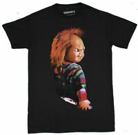 Child's Play Mens T-Shirt - Chucky Grinning Over Shoulder Glance