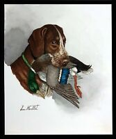 "Jean Herblet French 17""x13"" Original Watercolor - Braque Allemand - Calvert"