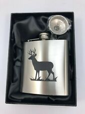 Art Pewter Scottish Engraved 6oz Hip Flask Gift Set New