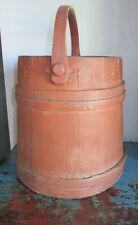 "New listing 12"" Firkin/Sugar Bucket/Wooden Old Oxblood Paint-Primitive-Shaker-Aa fa"