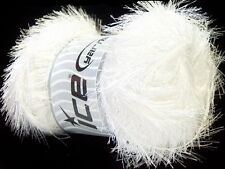 LG 100 gram Optical White Eyelash Yarn #22698 Ice Bright White Fun Fur 164 Yards