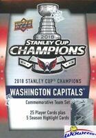 2018 Upper Deck Washington Capitals Stanley Cup Champs Complete 30 Card Box Set