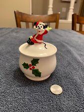 Vintage Mickey Mouse Santa Christmas Candle Holder Japan Disney Ceramic