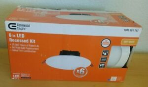"""Commercial Electric 6"""" Flush Round Wet Rated LED Recessed Lighting Kit 6-Pack"""