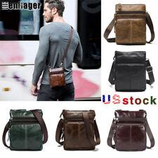Men's Genuine Leather Business Small Flap Crossbody Shoulder Bag Messenger Purse
