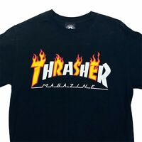 Thrasher Skateboarding T-Shirt Black Logo Short Sleeve Small Alternating Flames