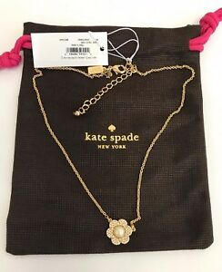 NWT Kate Spade Park Floral Pendant Necklace OORU1258 - Cream/ Clear / Gold