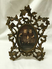 Antique Ornate Cast Iron Brass Art Nouveau Style Photo Frame