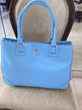 Tory Burch Sky Blue , Hudson Bay, Leather Saffiano Handbag Tote Large R $575