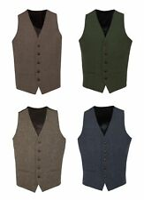 T1* Brown Green Navy Blue Mens Wool Tweed Slim Fit Vest Waistcoat