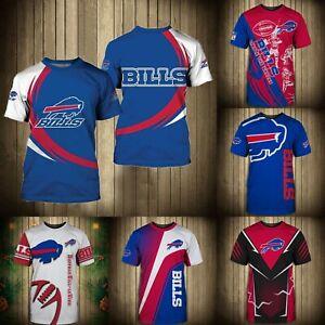 Buffalo Bills T Shirt Men's Summer Crew Neck Shirts Short Sleeve Tees S-5XL