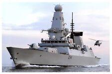 Postcard Royal Navy Type 45 Destroyer HMS Diamond, Sea King MK7 Helicopter J89