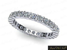 1.25Ct Round Cut Diamond Shared Prong Eternity Band Ring 10k White Gold GH I1