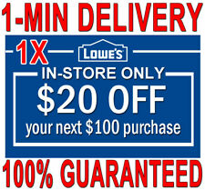 ONE (1X) Lowes $20 OFF $100 1-MIN DELIVERY 1COUPONS INSTORE ONLY 𝐄𝐗𝐏 𝟖/𝟕