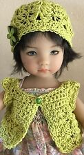 "Crochet ""Lime"" Sweater & Hat ~Effner Little Darling /Betsy McCall 13-14"" Dolls"