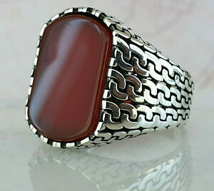 925 Sterling Silver Ring Red Agate Gemstone Handmade Ottoman Turkish Style