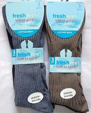 MENS NEW NON ELASTIC DIABETIC RICH COTTON EASY GRIP ANTIBACTERIAL SOCKS 6 PAIRS