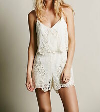 DOLCE VITA  Lace Romper Ivory Embroidered FREE PEOPLE One Piece Jumpsuit  SM 4 6