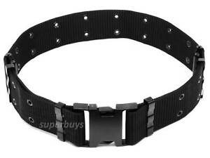 Black Tactical Heavy Duty Load Bearing Canvas Belt Police Security Military 62mm